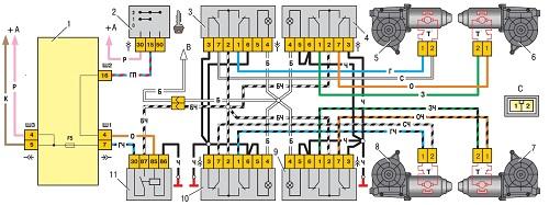 Схема электростеклоподъемников