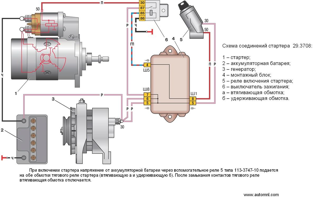 Схема подключения стартёра ваз 2110